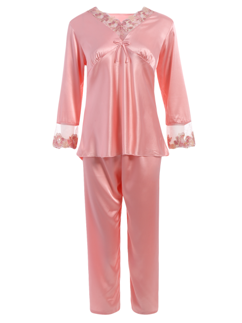 new Bowknot Lace Insert Faux Silk Pajama Set - LIGHT PINK M Mobile
