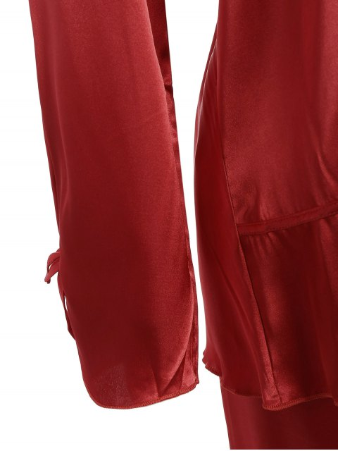shop Bowknot Faux Silk Sleepwear Suit - WINE RED XL Mobile