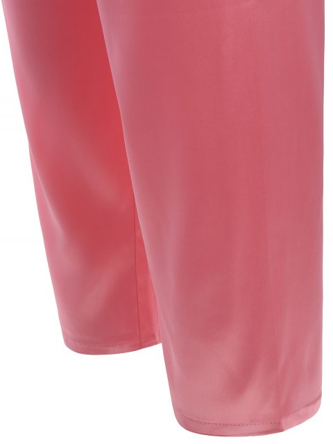best Lace Panel Long Sleeve Faux Silk Pajama Suit - PAPAYA M Mobile