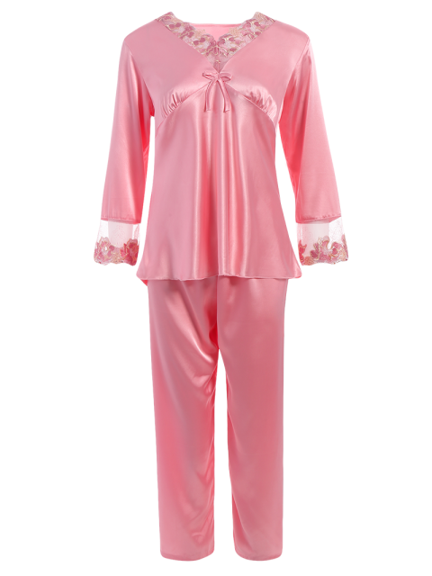 hot Bowknot Lace Insert Faux Silk Pajama Set - PAPAYA XL Mobile