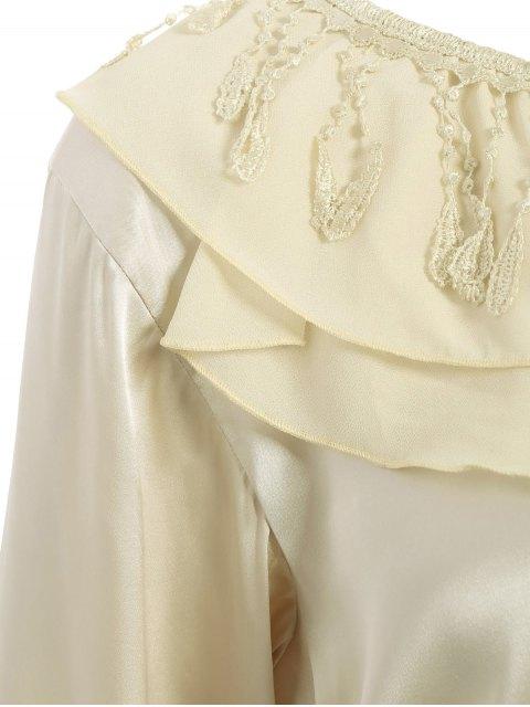 shops Fringed Ruffle Pullover Faux Silk Loungewear - BLUISH YELLOW XL Mobile