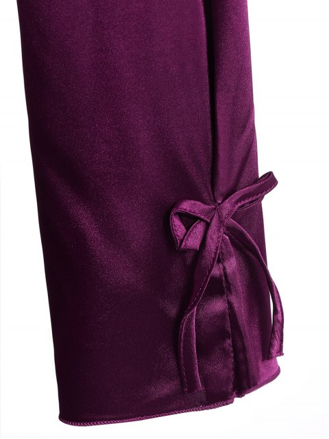 outfit Bowknot Faux Silk Sleepwear Suit - DEEP PURPLE XL Mobile