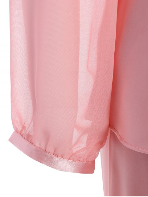 fashion Bowknot Faux Silk Chiffon Pullover Pajama Suit - LIGHT PINK M Mobile