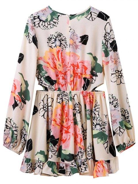women's Floral Print Waist Cutout Keyhole Dress - FLORAL M Mobile
