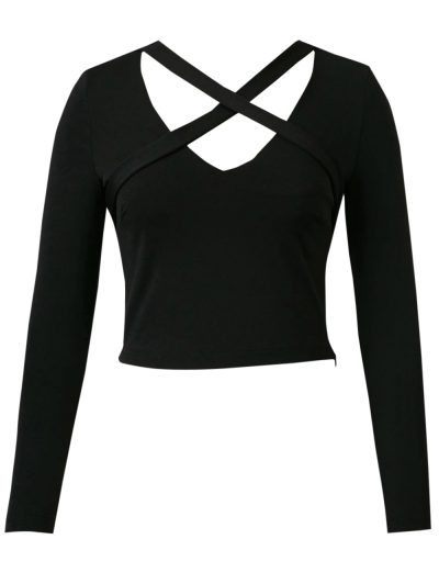 Banded Cropped T-Shirt - BLACK S Mobile