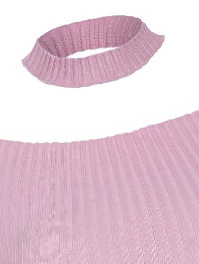 Short Sleeve Off The Shoulder Choker Knitwear - PINK ONE SIZE Mobile