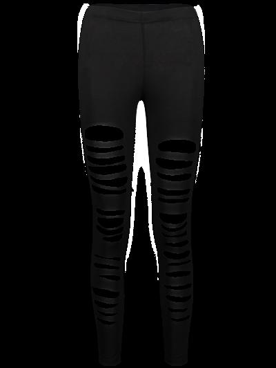 High Rise Ripped Leggings - BLACK S Mobile