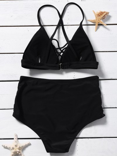 Crossover Lace-Up High Waisted Bikini - BLACK S Mobile