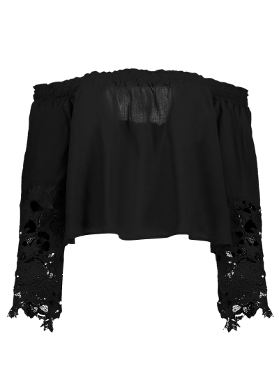 Off The Shoulder Lace Bell Sleeve Blouse - BLACK M Mobile