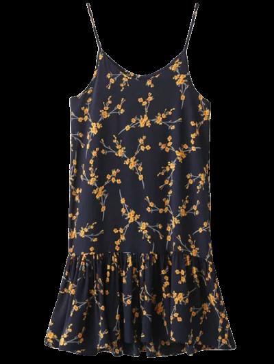 Spaghetti Strap Ruffle Floral Print Dress - CADETBLUE ONE SIZE Mobile