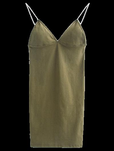 Elastic Spaghetti Strap Mini Bodycon Dress - FLAX GREEN M Mobile