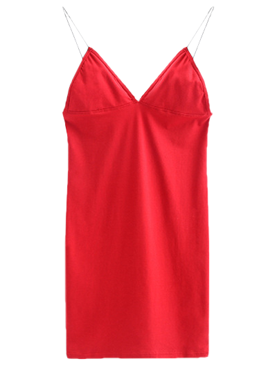 Elastic Spaghetti Strap Mini Bodycon Dress - BRIGHT RED M Mobile