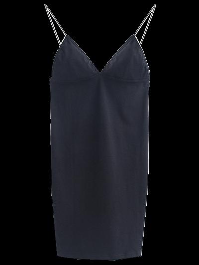 Elastic Spaghetti Strap Mini Bodycon Dress - BLACK M Mobile