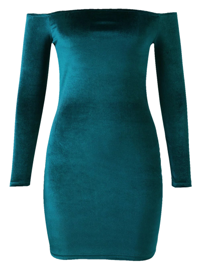 Off The Shoulder Long Sleeve Velvet Dress - LAKE GREEN M Mobile