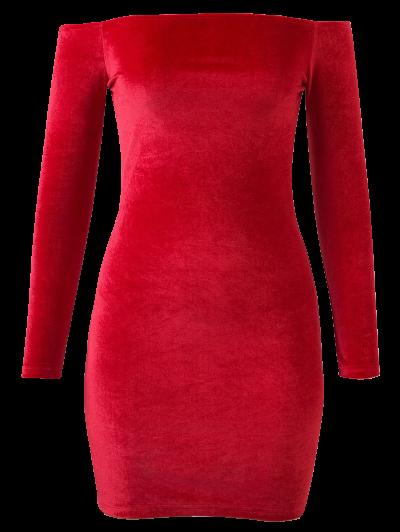 Off The Shoulder Long Sleeve Velvet Dress - BRIGHT RED M Mobile