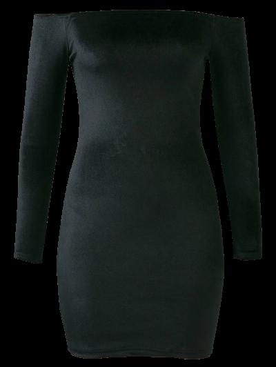 Off The Shoulder Long Sleeve Velvet Dress - BLACK S Mobile