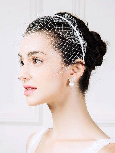 Mesh Veil Rhinestone Hairband - WHITE  Mobile