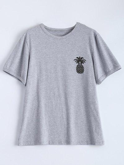 Pineapple Print Tee - GRAY XL Mobile