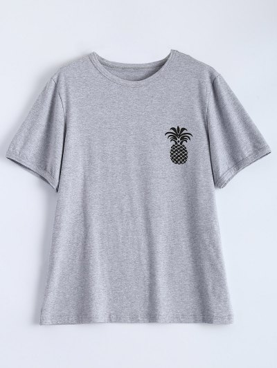 Pineapple Print Tee - GRAY S Mobile
