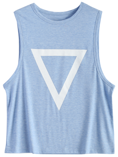 Triangle Pattern Tank Top - LIGHT BLUE S Mobile