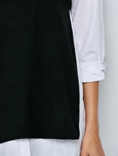 Side Slit Long Top - BLACK L Mobile