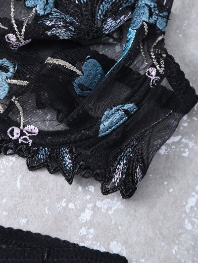 Embroidered Lace Panel See-Through Bra Set - BLACK 80B Mobile