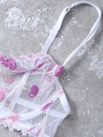 Embroidered Lace Panel See-Through Bra Set - WHITE 75C Mobile