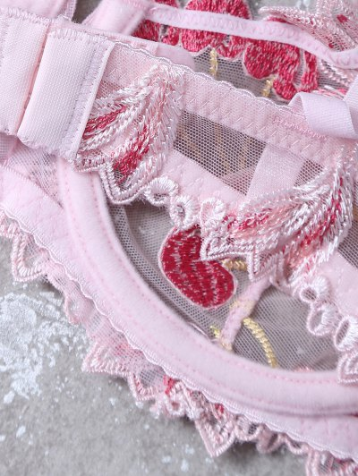 Embroidered Lace Panel See-Through Bra Set - PINK 75C Mobile