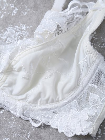 Floral Embroidered Lace Panel Bra Set - WHITE 75D Mobile