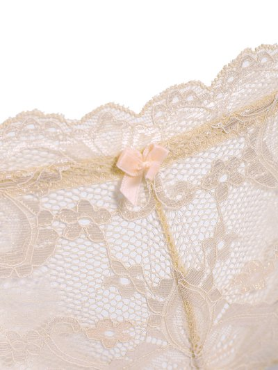 See Through Lace Bra Set - LIGHT PINK S Mobile