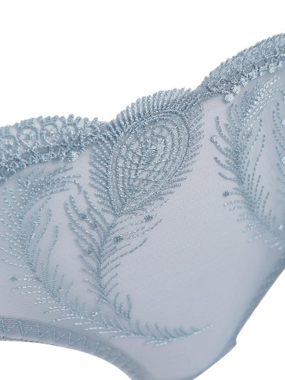 Ultra Thin Embroidered Bra Set - BLUE GRAY 80D Mobile