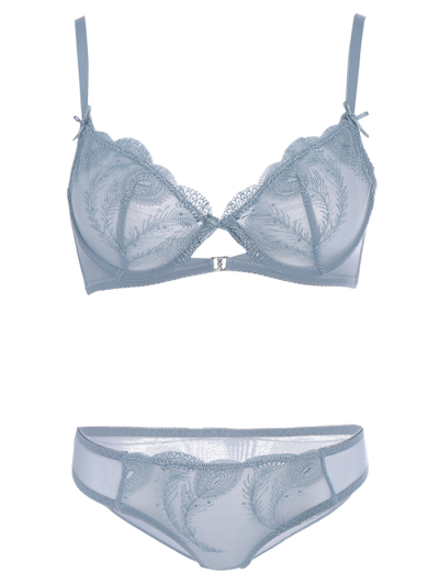 Ultra Thin Embroidered Bra Set - BLUE GRAY 80C Mobile