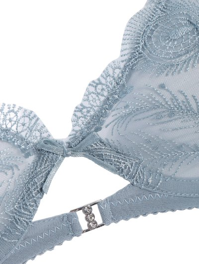 Ultra Thin Embroidered Bra Set - BLUE GRAY 85B Mobile