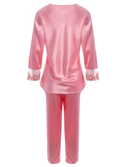 Bowknot Lace Insert Faux Silk Pajama Set - PAPAYA L Mobile