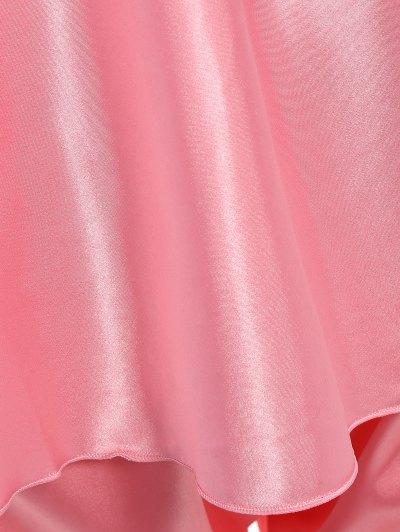 Bowknot Lace Insert Faux Silk Pajama Set - PAPAYA M Mobile