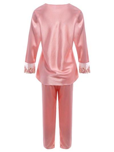 Bowknot Lace Insert Faux Silk Pajama Set - LIGHT PINK L Mobile