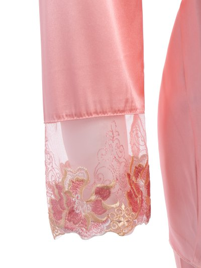 Bowknot Lace Insert Faux Silk Pajama Set - LIGHT PINK M Mobile