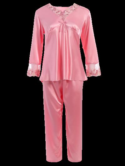 Bowknot Lace Insert Faux Silk Pajama Set - PAPAYA XL Mobile