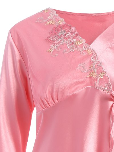 Lace Panel Long Sleeve Faux Silk Pajama Suit - PAPAYA XL Mobile