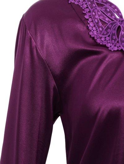 Bowknot Faux Silk Sleepwear Suit - DEEP PURPLE XL Mobile