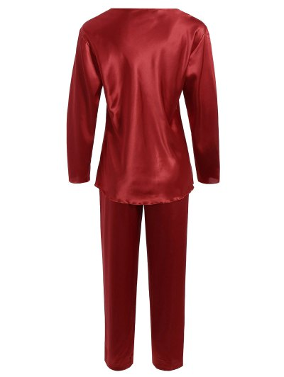 Bowknot Faux Silk Sleepwear Suit - WINE RED L Mobile