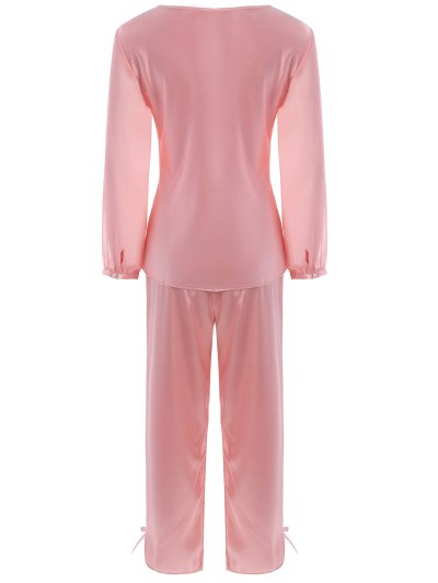 Bowknot Faux Silk Chiffon Pullover Pajama Suit - LIGHT PINK M Mobile