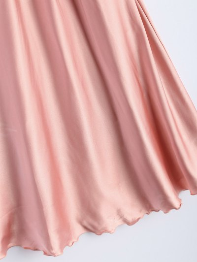 Spaghetti Strap Faux Silk Sleep Dress - LIGHT PINK ONE SIZE Mobile