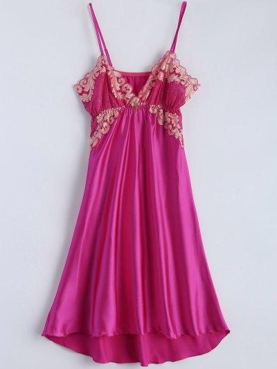 Spaghetti Strap Faux Silk Sleep Dress - PLUM ONE SIZE Mobile