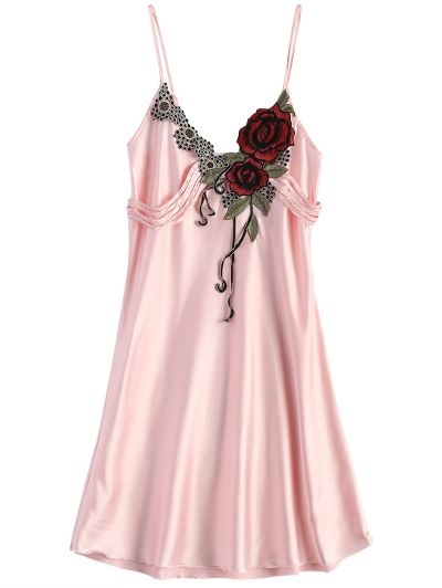 Slip Rose Faux Silk Babydolls - LIGHT PINK ONE SIZE Mobile