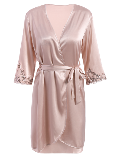 Faux Silk Outerwear and Slip Dress Loungewear - NUDE PINK XL Mobile