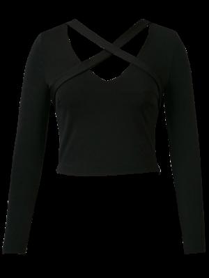 Banded Criss Cross Crop Top - Black