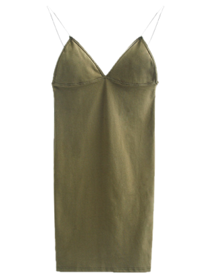 Elastic Spaghetti Strap Mini Bodycon Dress - Flax Green