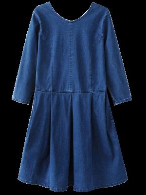 Back U Neck Jean Dress - Blue