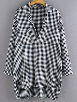 High Low Oversized Plaid Pullover Checkered Shirt - Checked